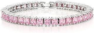 Gem Stone King 15.00 Ct Sparkling Princess Cut Cubic Zirconia CZ Tennis Bracelet 7 Inch