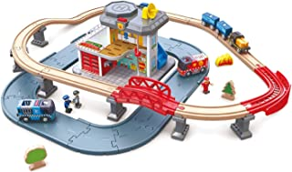 Hape E3736 Emergency Services HQ | 2-In-1 Police and Fire Station Complete Play Set with Vehicles and Action Figures