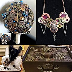 BIHRTC 140 Gram (Approx 92pcs) DIY Assorted Color Antique Metal Steampunk Watch Gear Cog Wheel Skull Musical Note Skull Hand Safety Pin Charms Pendant for Crafting, Jewelry Making Accessory #5