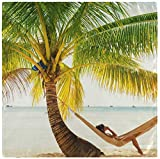 Set de 2 Summer Design Girl Relaxing in Palm Tree Hamac on Tropical Beach Blue Ocean Serviettes en Tissu Serviettes de Table en Polyester lavables pour Table à Manger Fête de Mariage Va 20'X20'
