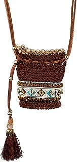 Lux Accessories Brown/White Multi Navajo Pouch Necklace