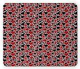 Lunarable Ace of Diamonds Mouse Pad, Spade Heart Diamonds Club Illustraiton, Rectangle Non-Slip Rubber Mousepad, Standard Size, Charcoal Grey Vermilion