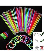 SHATCHI Glowsticks 100 glödpinnar 20 cm och kontakter neonfärger kit för armband, ringar halsband halloween rave fin klänning fest rekvisita väska fyllningar leksaker favoriter, flerfärgad