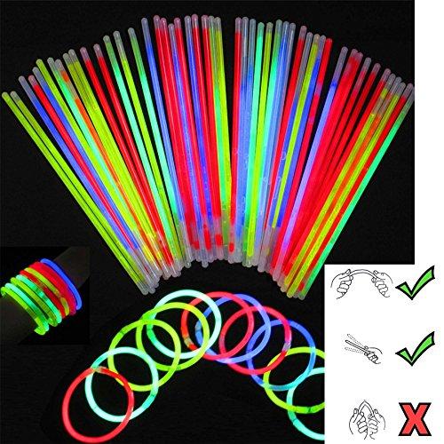 SHATCHI 100pcs/200pcs/400pcs Glow Sticks 8' and Connectors Neon Colours Kit for Bracelets, Rings Necklace Halloween Rave Fancy Dress Party Props Bag Fillers Toys Favours, Multicoloured, 100pcs