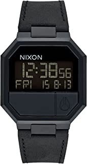 Nixon Re-Run Leather Digital Watch All Black