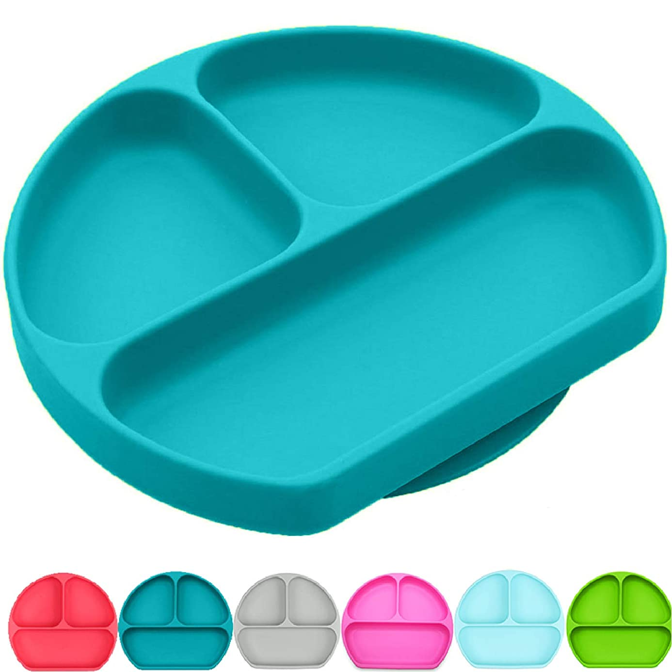 Silikong Suction Plate for Toddlers | BPA Free | Microwave, Dishwasher and Oven Safe | Stay Put Divided Baby Feeding Bowls and Dishes for Kids and Infants (Turquoise)