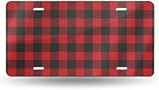 FCARPLATE Red Lumberjack Pattern Personality Vehicle Decoration Auto Car Aluminum License Plate Bike Card 6