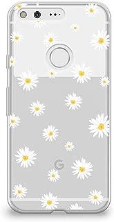 CasesByLorraine Google Pixel XL Case, Cute Daisy Floral Flowers Clear Transparent Case Flexible TPU Soft Gel Protective Cover for Google Pixel XL (P37)