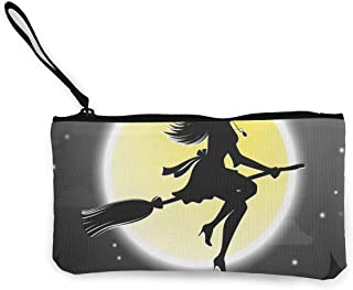 Arquitd Halloween Witches Fly On Broomsticks Monedero Bolsa de Maquillaje con Cremallera Pulsera de Viaje Bolsa de cosméticos para Mujeres y niñas Personalizado