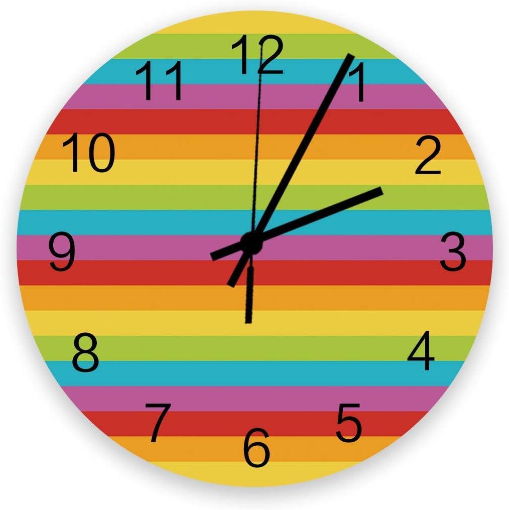 Reloj de Pared Redondo Decorativo México 5 de Mayo Festival Reloj de Pared con Rayas arcoíris geométricas con números arábigos, Relojes de Pared de Cuarzo de Calidad con Pilas de 10 Pulgadas