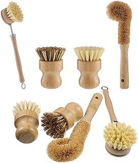 Opopark 4 PCS Cepillo para fregar platos de bambú natural - Hecho de bambú 100% natural - Cerdas naturales - Cepillo para ...