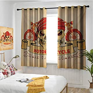 hengshu Manly Room Darkened Insulation Grommet Curtain Illustration of Skull Classics Motorcycle Dare to Scare Spooky Dangerous Race Living Room W72 x L72 Inch Orange Sand Brown