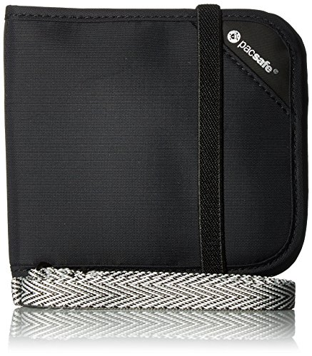 Pacsafe Rfidsafe V100 Anti-Theft RFID Blocking Bi-fold Wallet, Black, One Size
