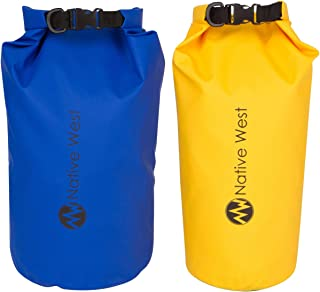 NativeWest Dry Bag (2 Pack) with Shoulder Strap. Waterproof Dry Gear Bags for Boating, Kayaking, Fishing,Camping, Hiking, Rafting. Dry Compression Sack