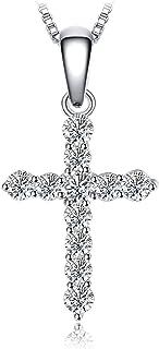 JewelryPalace Colgante Cruz adornado Circonita Collar Plata de ley 925 cadena de caja 45cm