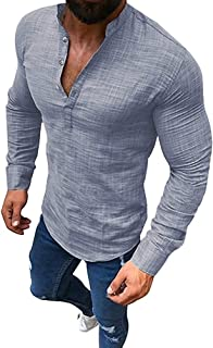 Tomwell Men Shirts Linen and Cotton V Neck Long Sleeves T Shirts Casual Tee Button Slim Fit Work Shirt