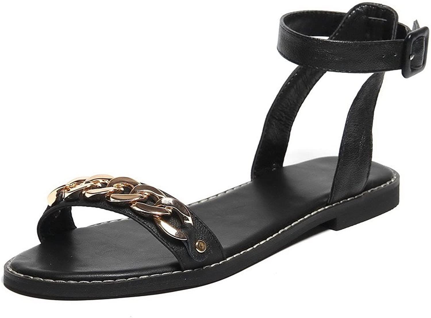 WeenFashion Women's Buckle No Heel Cow Leather Solid Open-Toe Flats-Sandals