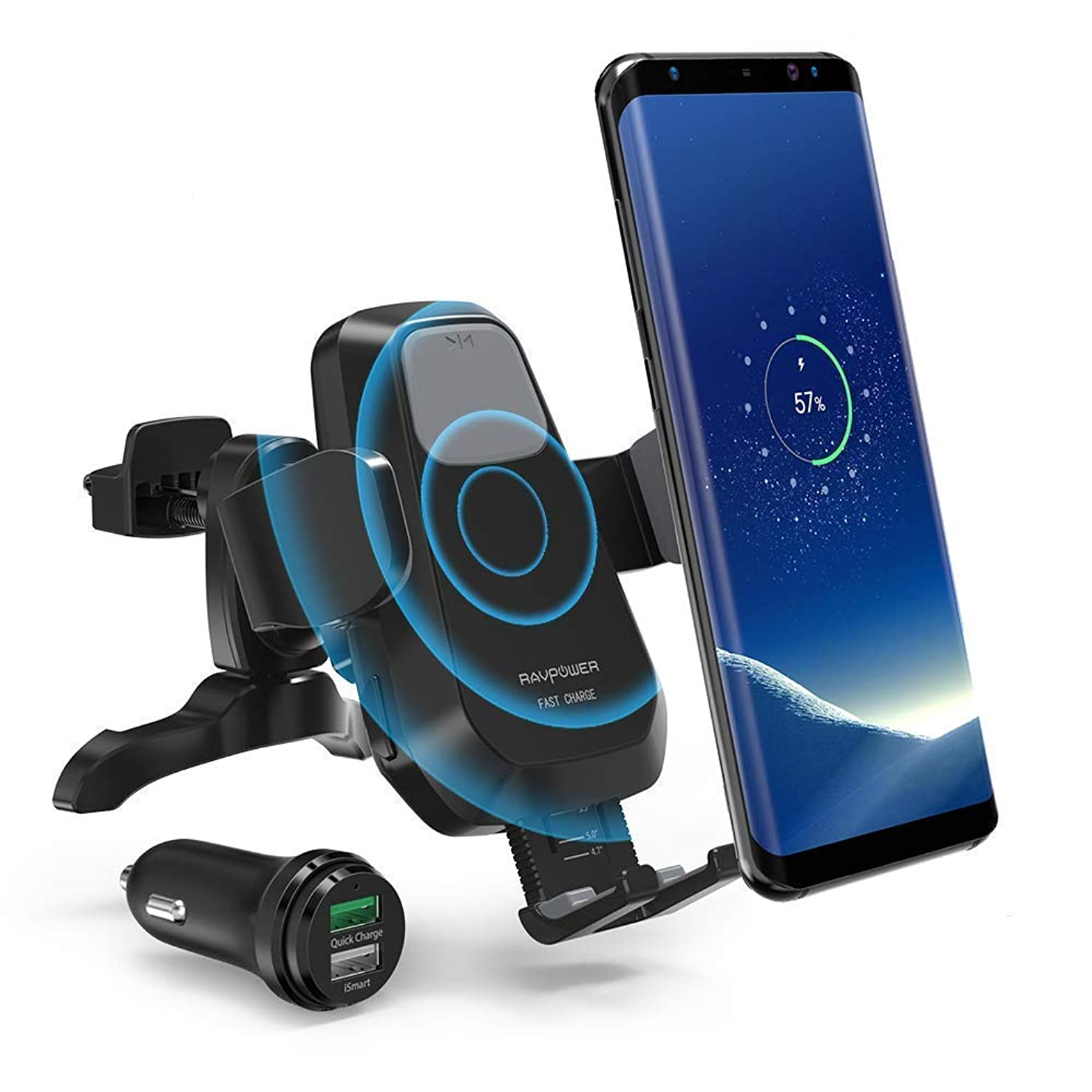 RAVPower Qi Wireless Car Fast Charger 7.5W / 10 W Phone Holder Car Vent Electric Lock Release Compatible iPhone Xs Max XR X 8 7 Plus Galaxy S9 S8 Plus Note 9 8(Renewed)