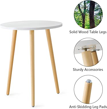 Haton Side Table, Round White Modern Home Decor Coffee Tea End Table for Living Room, Bedroom and Balcony, Easy Assembly (16.