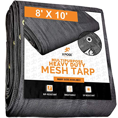 Xpose Safety Heavy Duty Mesh Tarp – 8' x 10' Multipurpose Black Protective Cover with Air Flow - Use for Tie Downs, Shade, Fences, Canopies, Dump Trucks – Tear Resistant