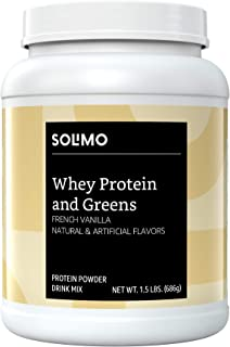 Amazon Brand - Solimo Whey Protein & Greens Blend, French Vanilla, 1.5 Pound