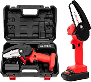 Mini Chainsaw, 4-Inch Cordless Electric Protable Chainsaw with 1Pcs Batteries & Chain Brushless Motor, One-Hand 0.7kg Ligh...