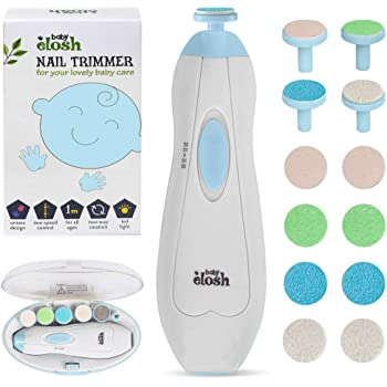 Baby Nail Trimmer File Electric - [2020 UPGRADED] Safe Nail Clippers with 12 Units GIFT for Newborn Toddler Kids or Women Toes and Fingernails, Care, Polish and Trim, AA Battery Operated (Not Include)