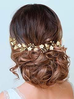 Aukmla Bride Wedding Hair Vines Flower Headbands Crystal Headpiece Bridal Jewelry for Women and Girls (Gold)