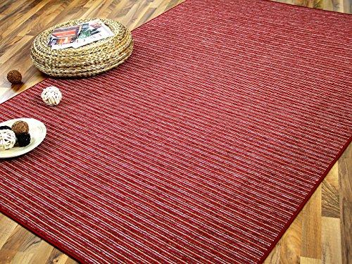 Snapstyle Streifenberber Teppich Marta Rot Beige Streifen in 24 Größen