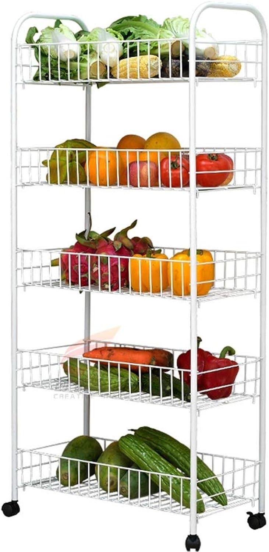 YANZHEN Storage Shelves Vegetable Rack Kitchen Landing Multi-Layer Removable Storage Durable Carbon Steel, Bearing 30KG, 3 Size (color   White, Size   36x26x112cm)