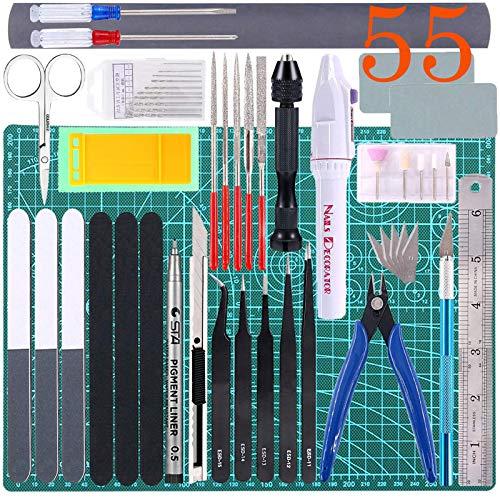 Qovydx 55Pcs Gundam Tools Kit Gunpla Tools Gundam Model Kit Tool Bandai Tool Kit Gundam Modeler Basic Tools Set for Gundam Model Building Modeling Making