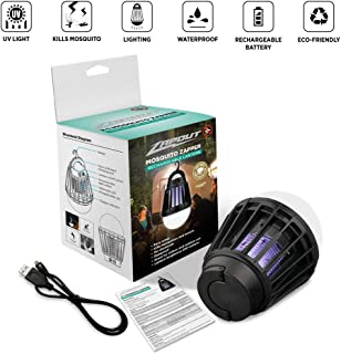 Zapout Camping Lamp Bug Zapper Tent Light Bulb - Portable Led and Emergency Lantern with Waterproof Mosquito Repellent Fly Killer USB 2000mAh Rechargeable Battery for Outdoor Backpacking (Black)