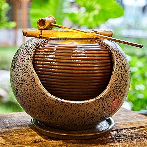 Decoración de jardín japonés, Fuente de Agua de orbe portátil, Cascada de cerámica, Cuchara de bambú, decoración de relajación, Adorno para el hogar de la Suerte