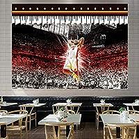 ジェームズバスケットボールスター6#ぶら下げ布、熱い火事チーム背景布3D印刷タペストリーベッドルーム寮のベッドサイドの壁の布の装飾絵画 E-200*150CM