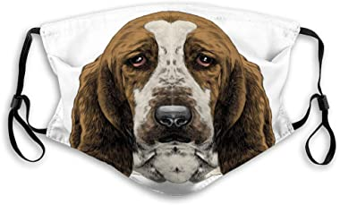 Mask for Men and Women, Boys and Girls Dog Head Parade Basset Hound Sketch Graphics smask