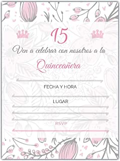 25 Quincenera Party Invitations with envelopes | Blank Fill-in Invites | 5 x 7 | 15th Birthday Party Favor | Sweet 15 | En Espanol | in Spanish