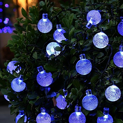 Berocia Solar String Lights Outdoor Garden Waterproof Blue Decorative Fairy Lights 8 Modes Color Changing 20ft 30 LED for for Patio Yard Tree Lawn Party Christmas