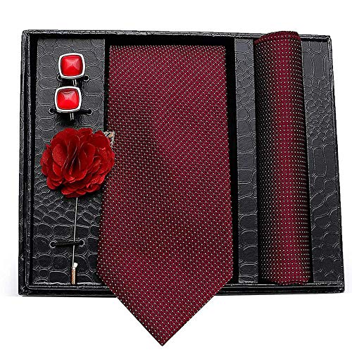 Axlon Men's Polyester Necktie, Pocket Square, Lapel Pin and Cufflinks Combo (Multicolour, Free Size)