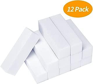 Senkary 12 Pack White Nail Buffer Block 4 Way Sanding Block Files Professional Nail Polisher Manicure Tool