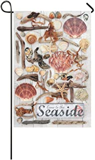 抽象的な流木貝殻岩海藻ロングポリエステルガーデンフラグバナー、結婚記念日のためのシーサイドサイン装飾的な旗12 x 18インチ