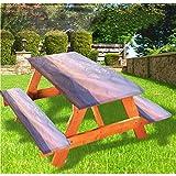 LEWIS FRANKLIN - Mantel ajustable para mesa de picnic y banco, estilo escénico de Indonesia, con borde elástico, 70 x 72 pulgadas, juego de 3 piezas para mesa plegable