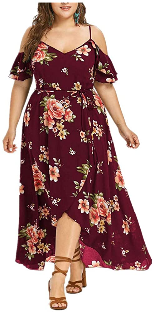 Plus Size Casual V Neck Belted Empire Waist Asymmetrical Maxi Dress