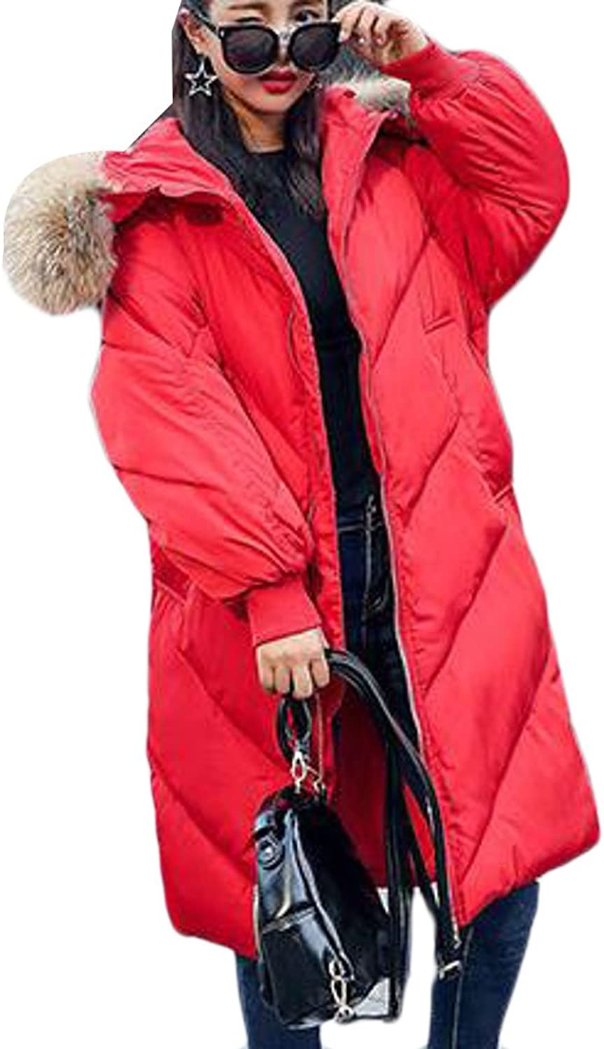 Cromoncent Womens Faux Fur Hoodie Padded Thicken Loose Down Parka Coat