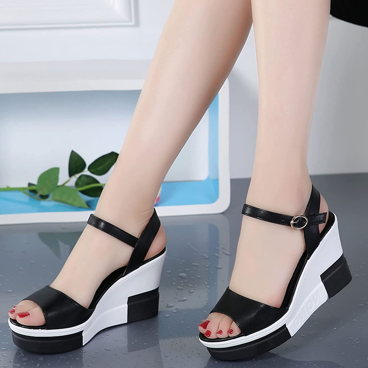 Wedges Shoes for Women, Outdoor Peep Toe Black White Colorblock Anti Skid Stability Comfortable Rest Platform Sandals