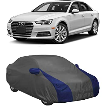 NEXTON Presents Water Resistant Polyester Fabric Car Body Cover for Audi A4 with Mirror Pockets (Grey & Blue Design)