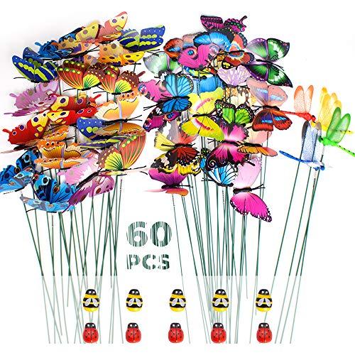 SNAILGARDEN Set di 60 Pali da Giardino con Farfalle e Libellule da Giardino, Ornamenti a Forma di Coccinella su Bastoni per Patio, Piante, Giardino, F