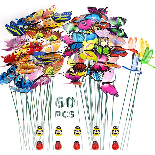 SNAILGARDEN 60 Pcs Garden Butterflies Stakes Set,Garden Butterflies Dragonflies Stakes,Ladybug Bee Ornaments on Sticks for Patio Plant Garden Party Lawn Yard Decoration