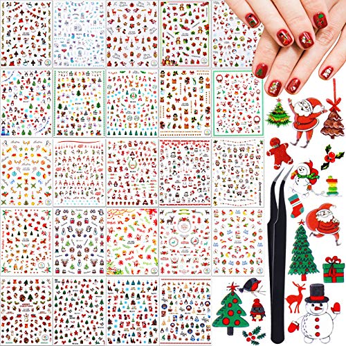 Above 1800 Pieces Christmas Nail Decals 3D Christmas Nail Art Stickers Nail Stickers Self-Adhesive Nail Decal with Tweezers for Fingernail Toenail Decoration, 24 Sheets (Wreath Santa Elk Xmas Series)
