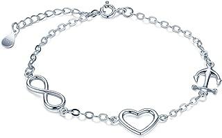 Women's 925 Sterling Silver Infinity Symbol Anchor Bracelet Chain 16cm+3.5cm Extansion Link