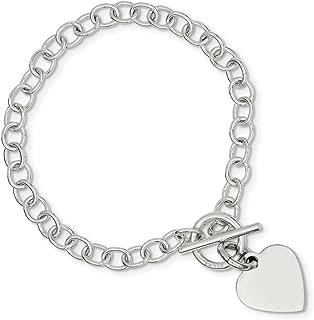 Sterling Silver Flat back Engravable Toggle Closure Polished Heart Charm Bracelet - Length Options: 7.5 8.5